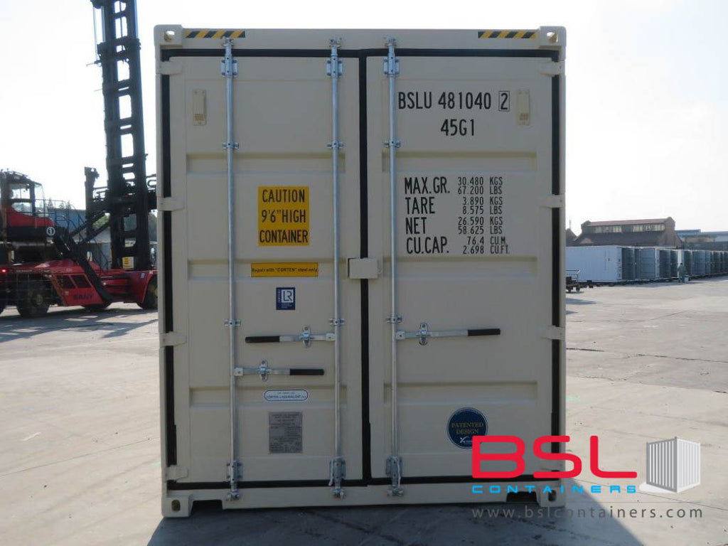40' High Cube ISO New Build One Trip Shipping Containers in RAL1015 Beige ex Brisbane (40'HC) - GST included - eSHOP - BSL CONTAINERS