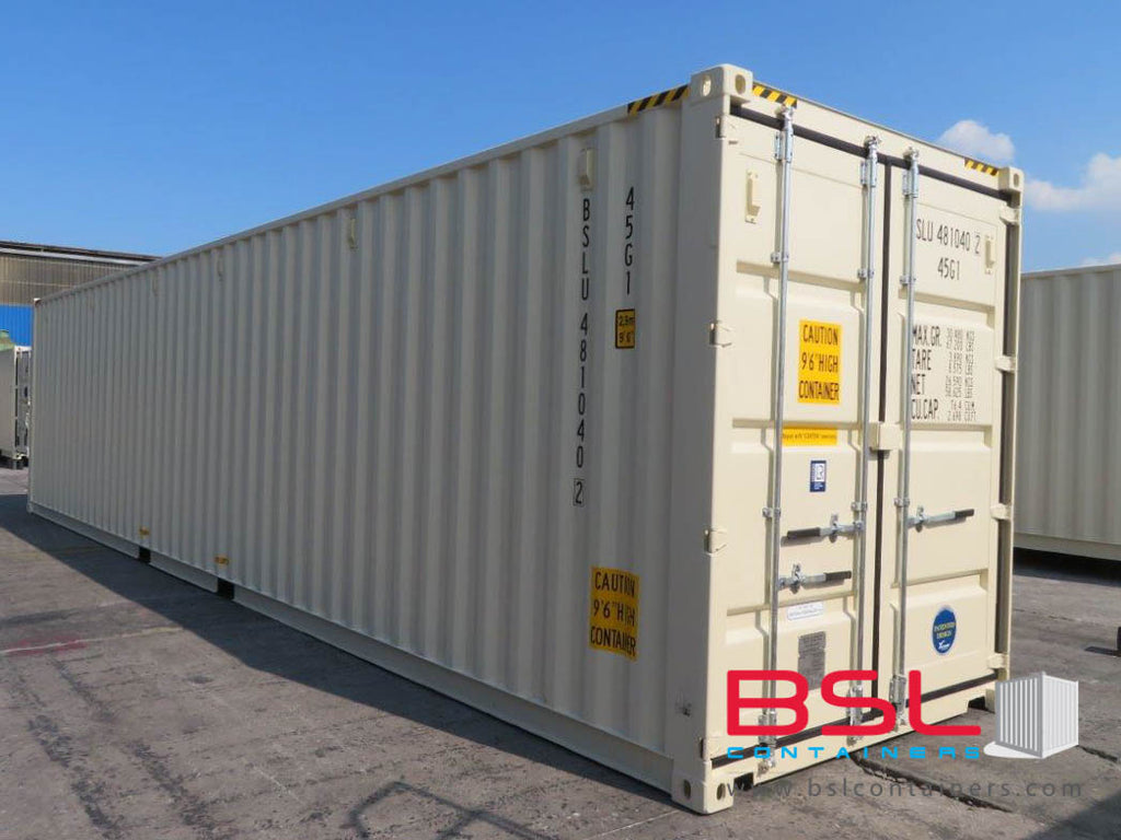 40' High Cube ISO New Build One Trip Shipping Containers in RAL1015 Beige ex Brisbane (40'HC) - eSHOP - BSL CONTAINERS