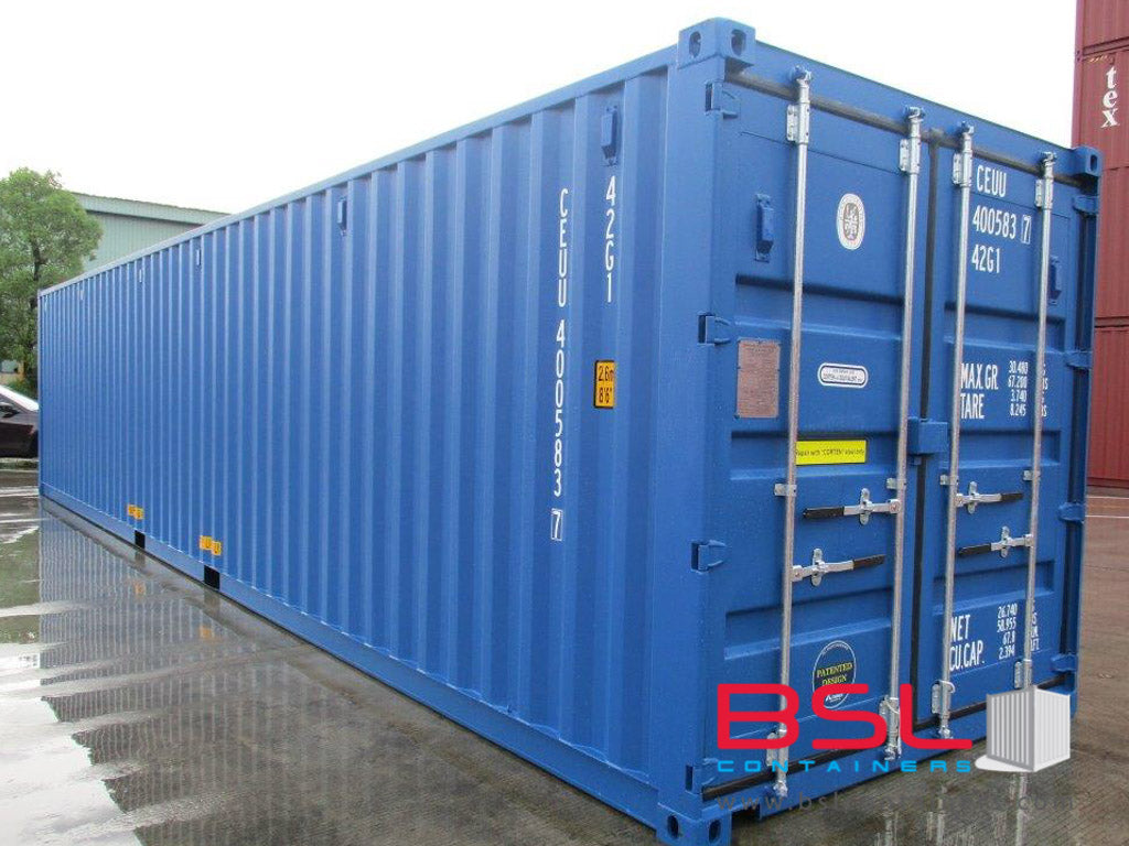 40'GP ISO New Build One Trip Shipping Containers in RAL5010 Blue ex Valencia - eSHOP - BSL CONTAINERS