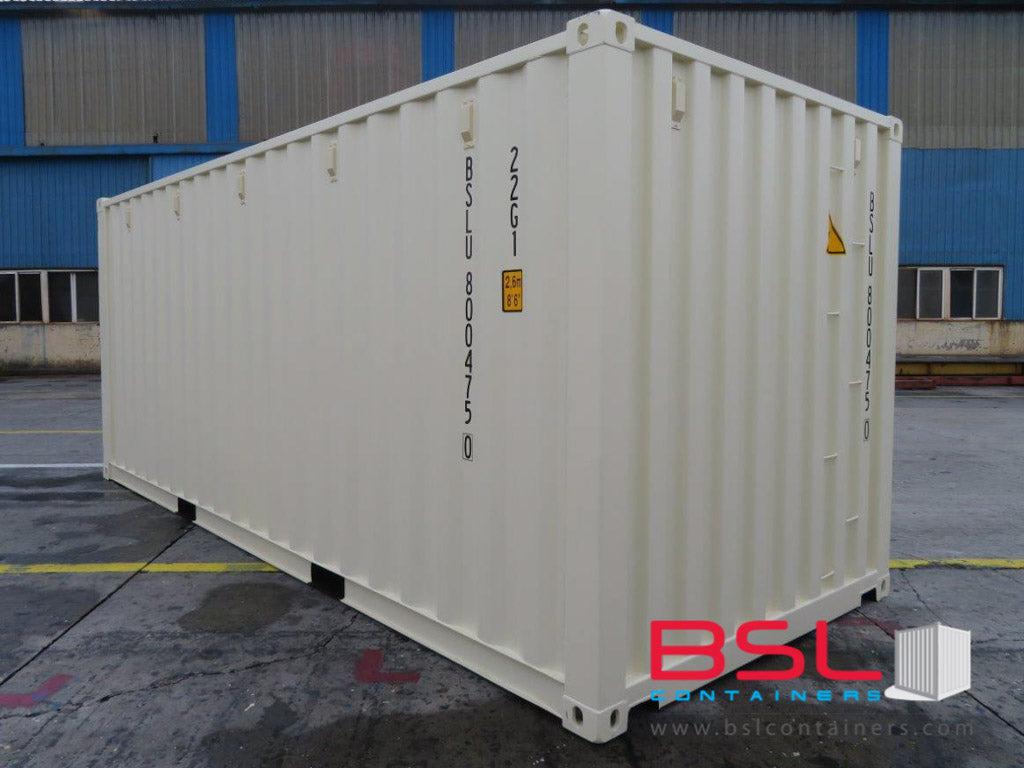 20' ISO New Build One Trip Shipping Containers in RAL1015 Beige ex Brisbane (20'GP) - GST included - eSHOP - BSL CONTAINERS