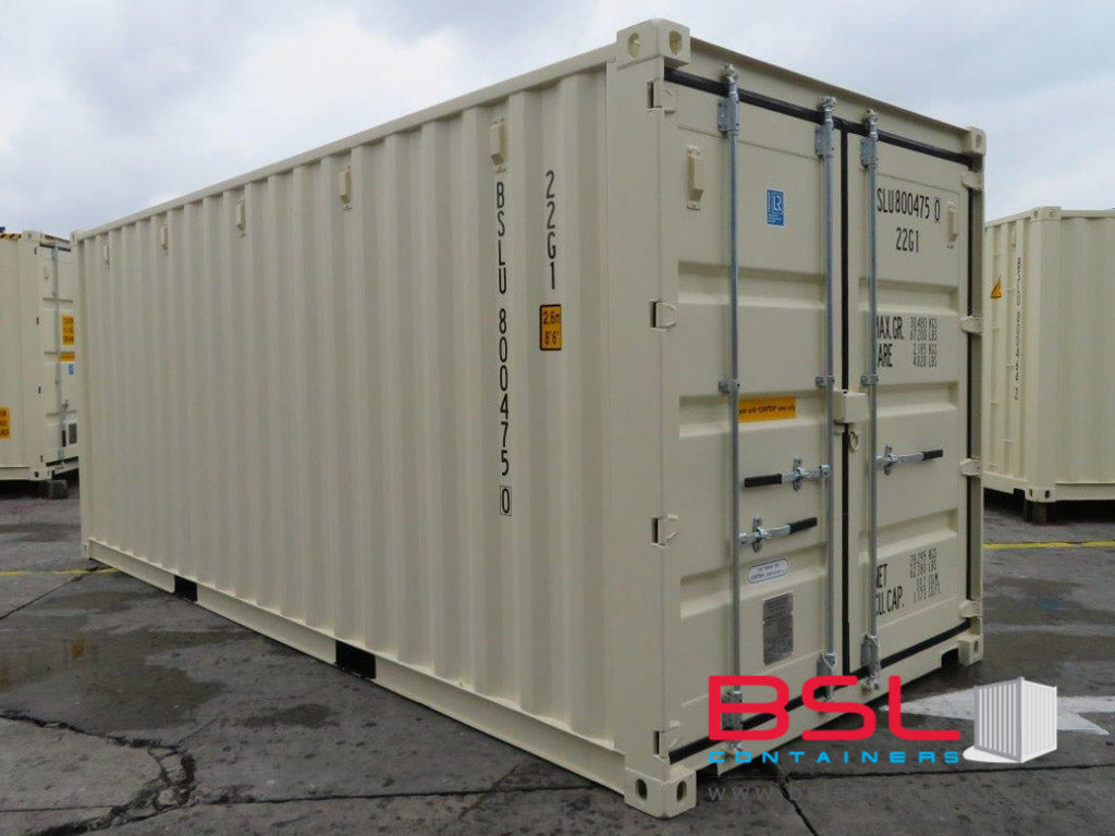 20' ISO New Build One Trip Shipping Containers in RAL1015 Beige ex Brisbane (20'GP) - eSHOP - BSL CONTAINERS