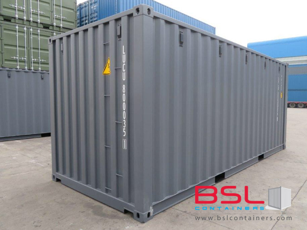 20'GP ISO New Build One Trip Shipping Containers in RAL7015 Grey ex Kristiansand - eSHOP - BSL CONTAINERS