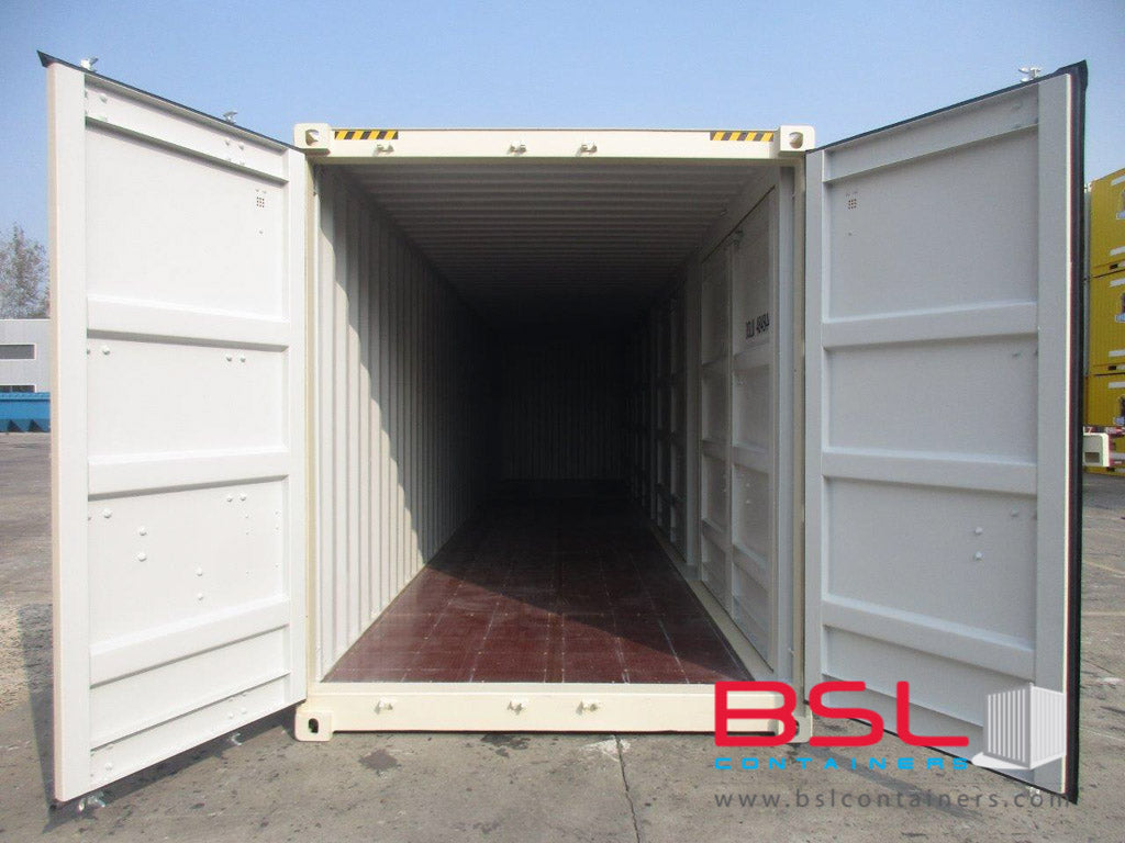 40'HC with 4 sets side cargo doors ISO New Build One Trip Shipping Containers  in RAL1015 Beige ex Atlanta (40'HC4CD) - eSHOP - BSL CONTAINERS