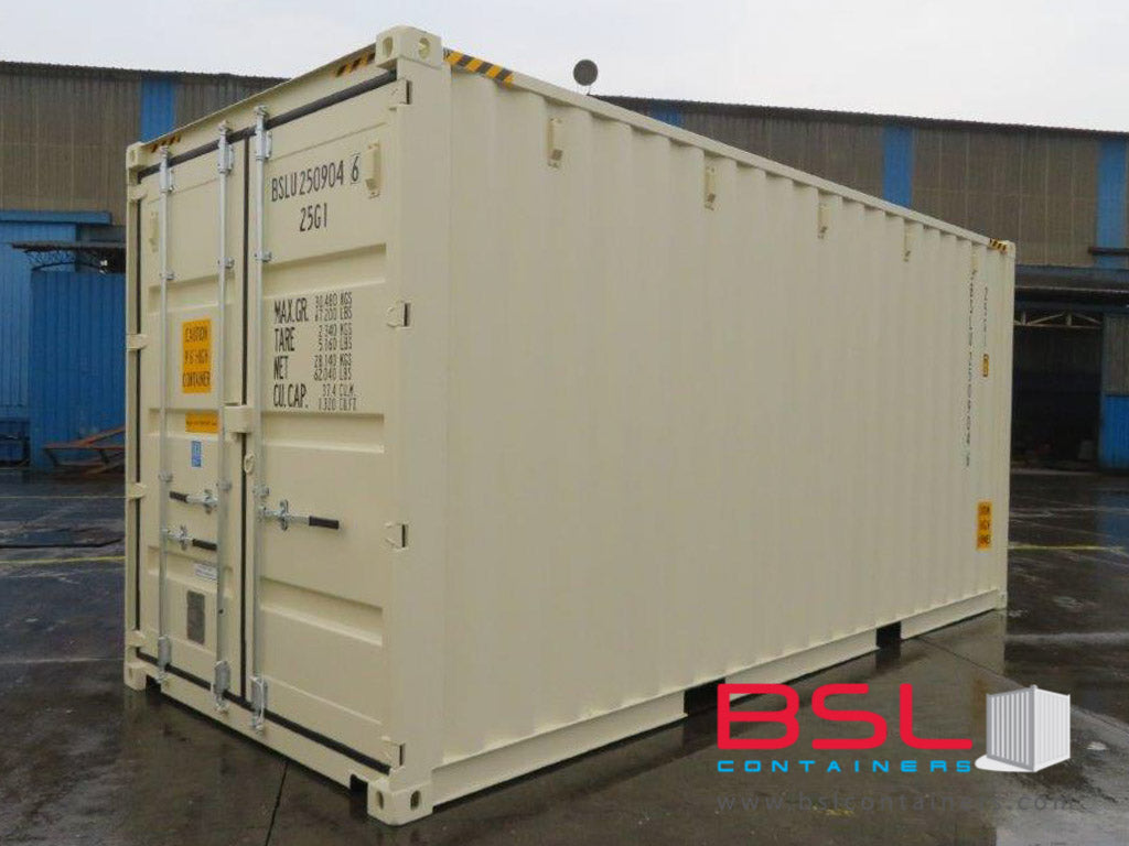 20' High Cube ISO New Build One Trip Shipping Containers in RAL1015 Beige ex Melbourne (20'HC) - GST included - eSHOP - BSL CONTAINERS