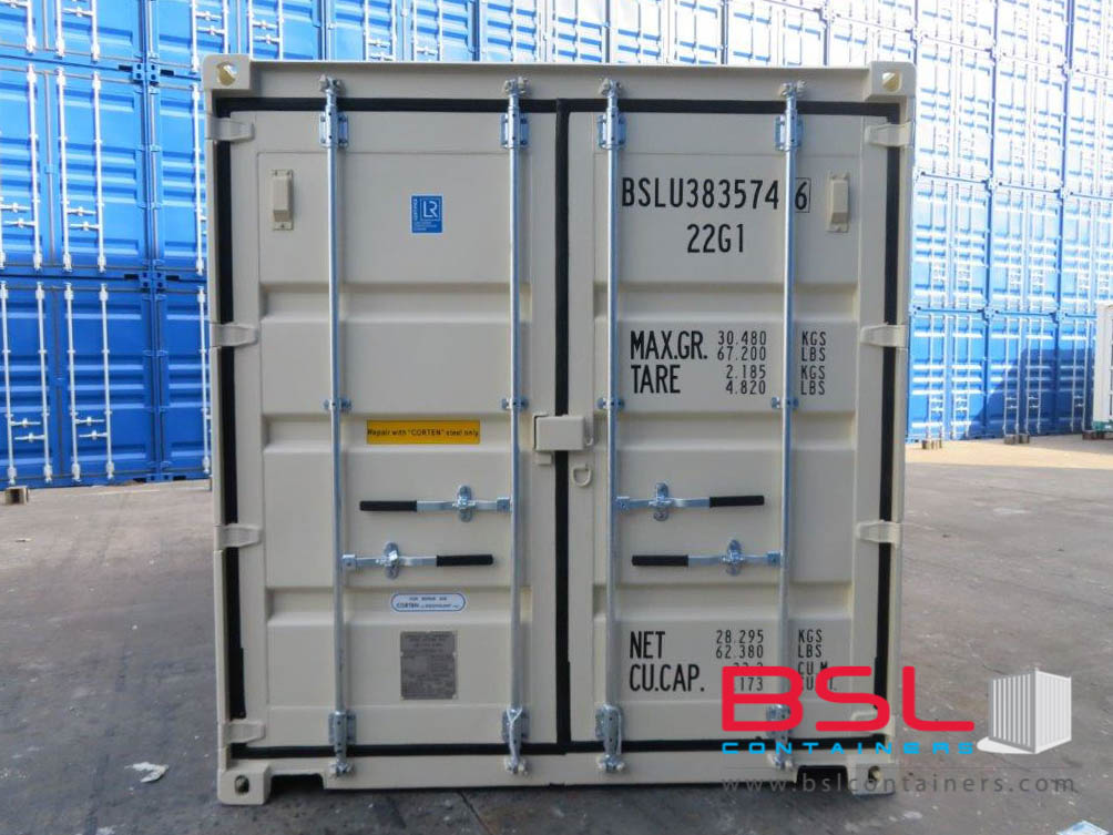 20' ISO New Build One Trip Shipping Containers in RAL1015 Beige ex Miami (20'GP) - eSHOP - BSL CONTAINERS