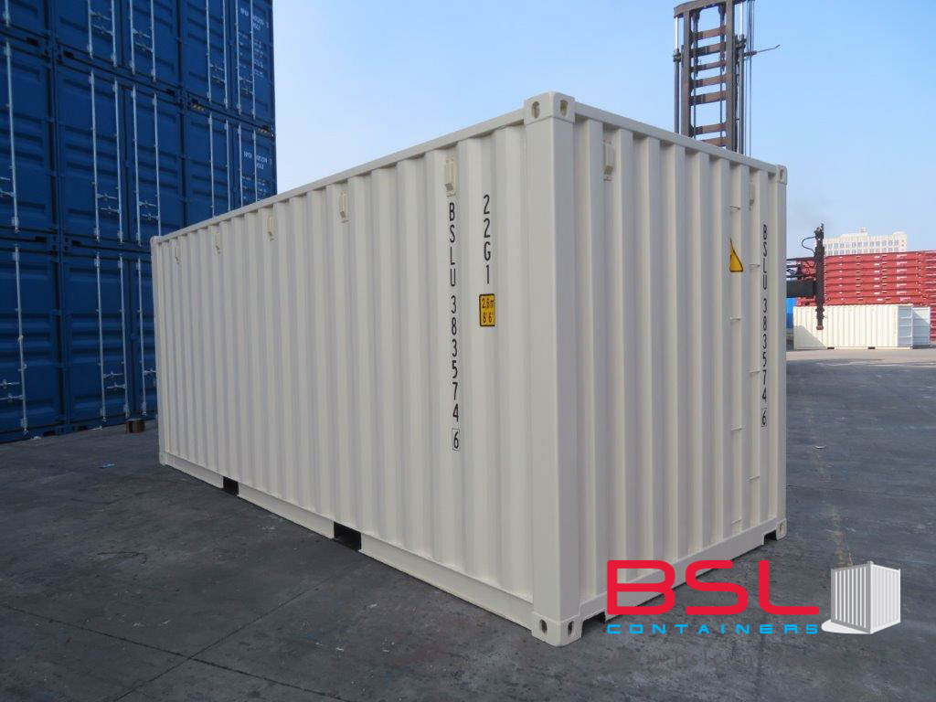 20' ISO New Build One Trip Shipping Containers in RAL1015 Beige ex New York (20'GP) - eSHOP - BSL CONTAINERS
