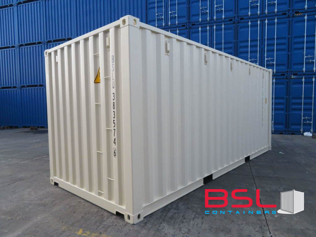 20' ISO New Build One Trip Shipping Containers in RAL1015 Beige ex St. Louis (20'GP) - eSHOP - BSL CONTAINERS