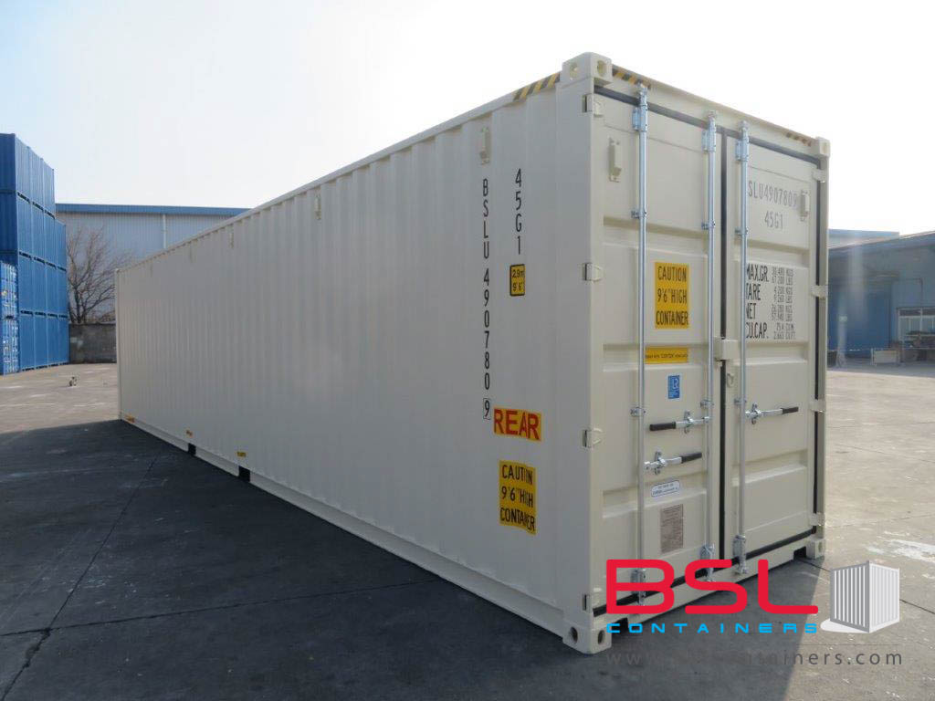 UPCOMING 40'HCDD ISO New Build One Trip Shipping Containers in RAL1015 Beige ex Norfolk - eSHOP - BSL CONTAINERS
