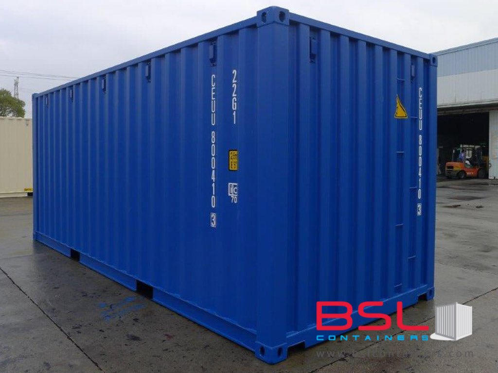 20'GP ISO New Build One Trip Shipping Containers in RAL1015 Beige / RAL5010 Blue ex Singapore - eSHOP - BSL CONTAINERS
