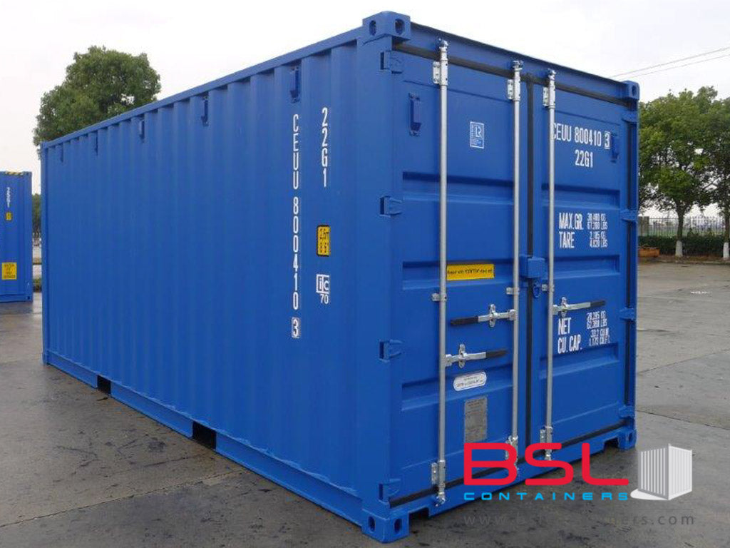 20' ISO New Build One Trip Shipping Containers in RAL5010 Blue ex Fredrikstad (20'GP) - eSHOP - BSL CONTAINERS