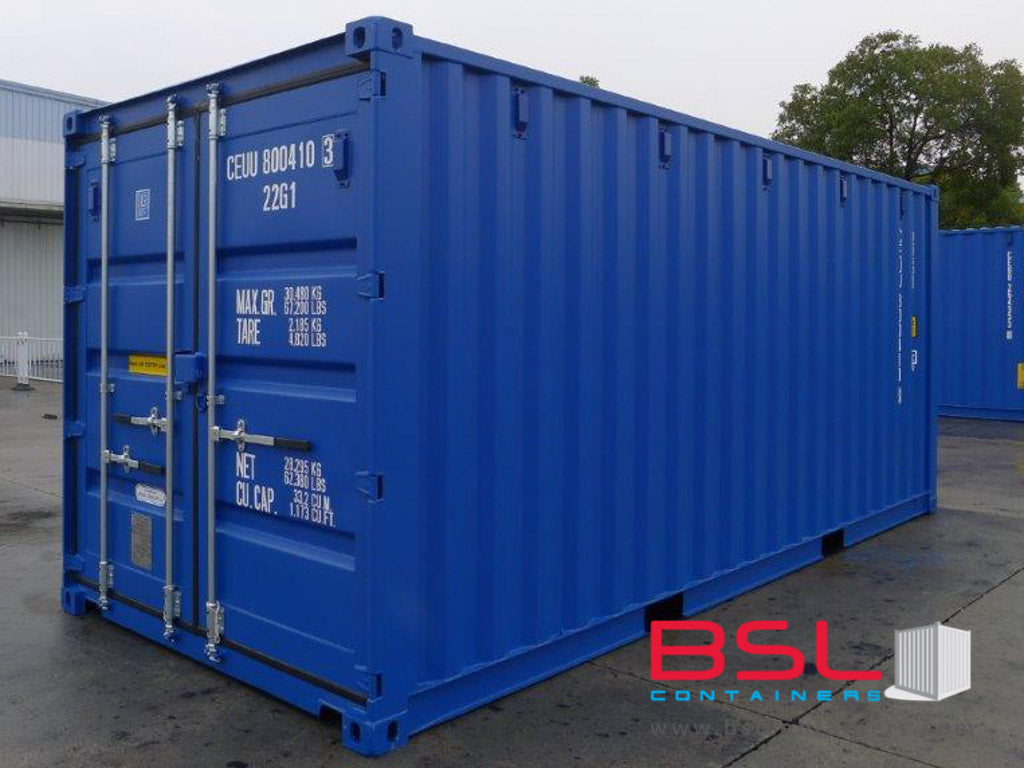 20' ISO New Build One Trip Shipping Containers in RAL5010 Blue ex Helsinki (20'GP) - eSHOP - BSL CONTAINERS