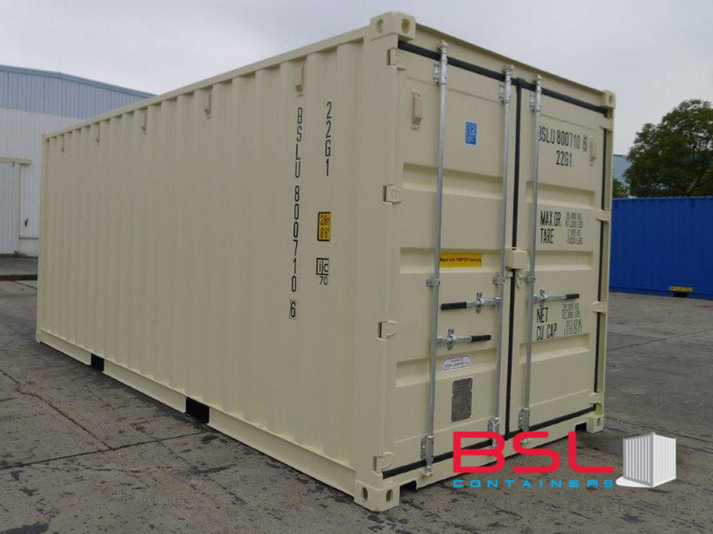 20' ISO New Build One Trip Shipping Containers in RAL1015 Beige ex Norfolk (20'GP) - eSHOP - BSL CONTAINERS