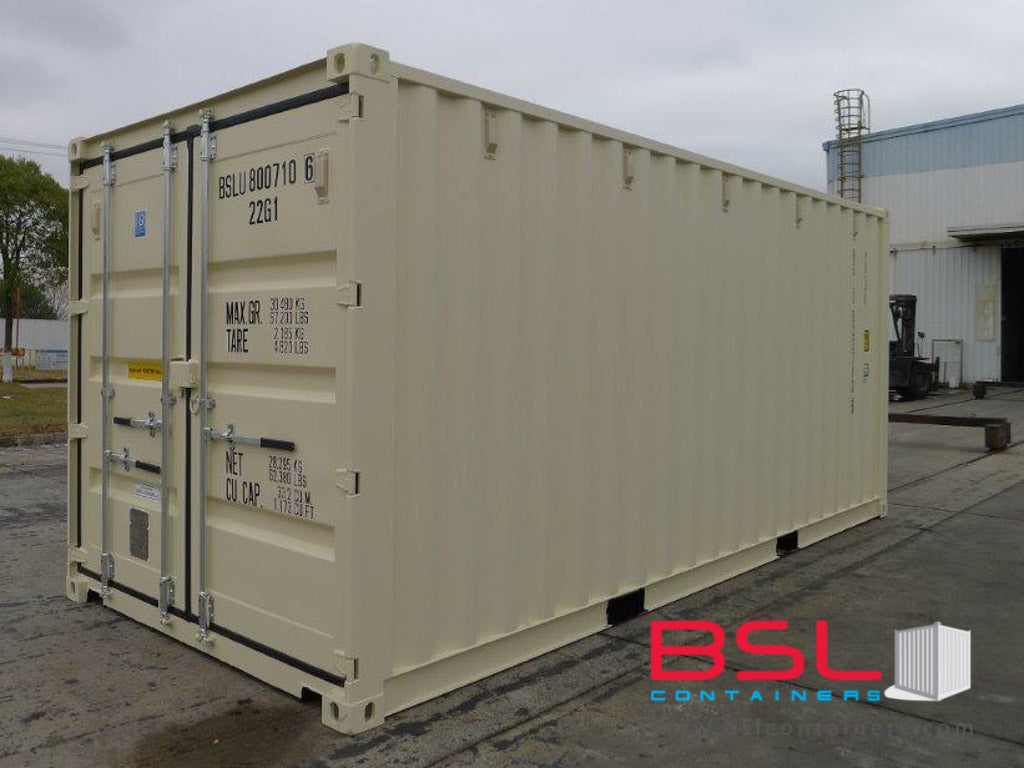 20' ISO New Build One Trip Shipping Containers in RAL1015 Beige ex Port Kelang (20'GP) - eSHOP - BSL CONTAINERS