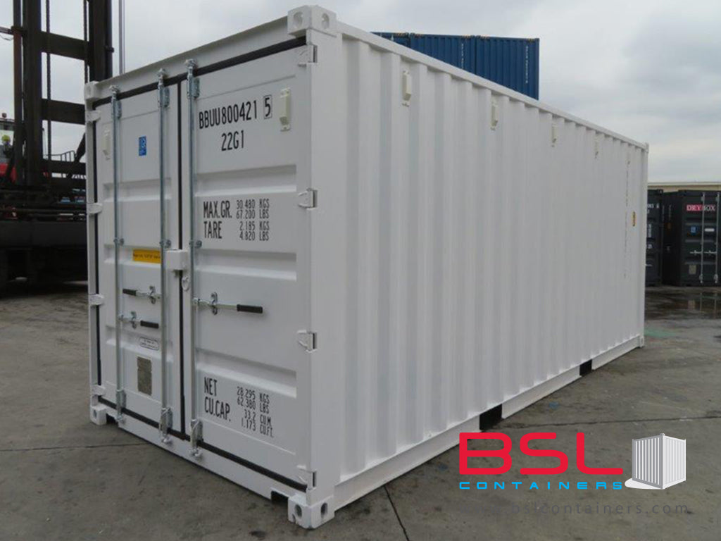 20'GP ISO New Build One Trip Shipping Containers in RAL9003 White ex Hamburg - eSHOP - BSL CONTAINERS