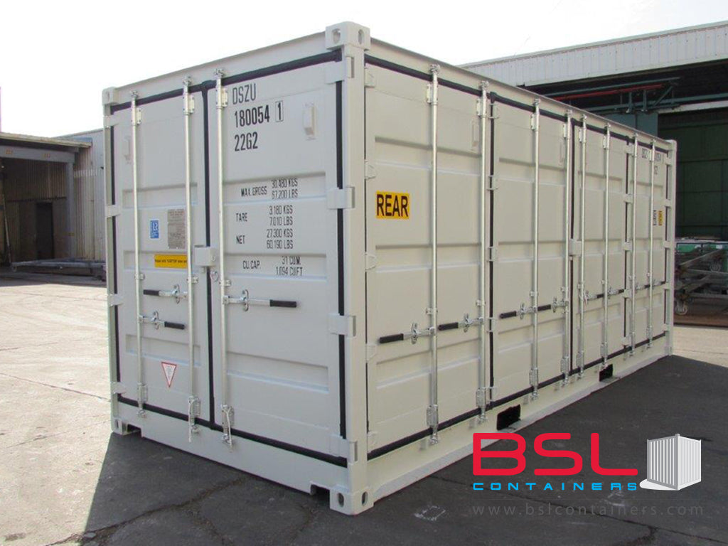 20' Open Side ISO New Build One Trip Shipping Containers in RAL7035 Grey ex Miami (20'OS) - eSHOP - BSL CONTAINERS