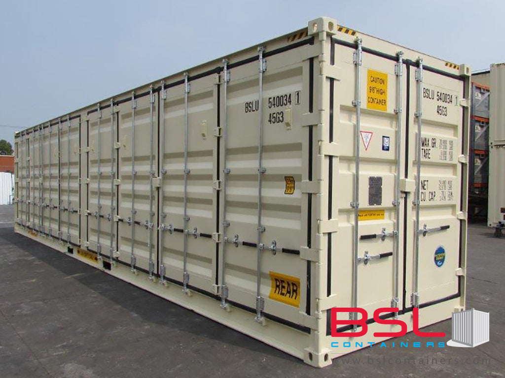 40' High Cube Open Side with Middle Support ISO New Build One Trip Shipping Containers in RAL1015 Beige ex Vancouver (40'HCOS) - eSHOP - BSL CONTAINERS