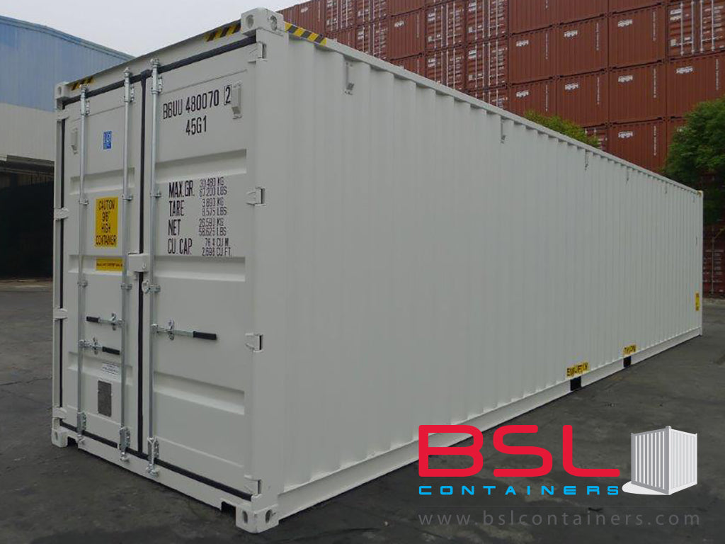 40' High Cube ISO New Build One Trip Shipping Containers in RAL9002 Grey White / RAL5010 Blue ex Port Kelang (40'HC) - eSHOP - BSL CONTAINERS