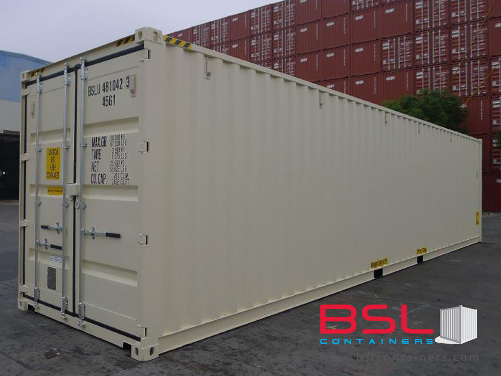 40' High Cube ISO New Build One Trip Shipping Containers in RAL1015 Beige ex St. Louis (40'HC) - eSHOP - BSL CONTAINERS