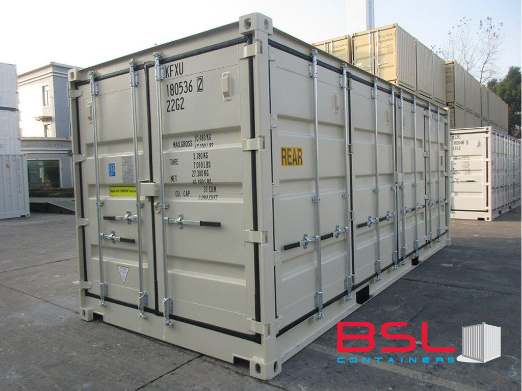 20' Open Side ISO New Build One Trip Shipping Containers in RAL1015 Beige ex New York (20'OS) - eSHOP - BSL CONTAINERS