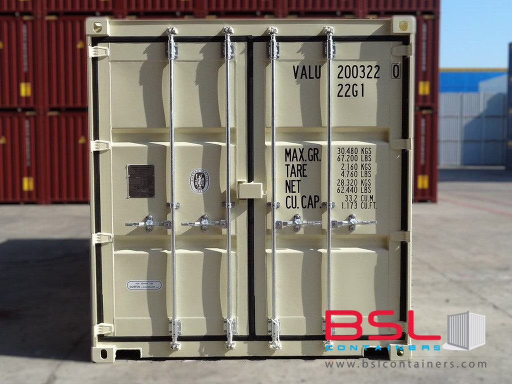 20'GP ISO New Build One Trip Shipping Containers in RAL1015 Beige ex Yangon - eSHOP - BSL CONTAINERS