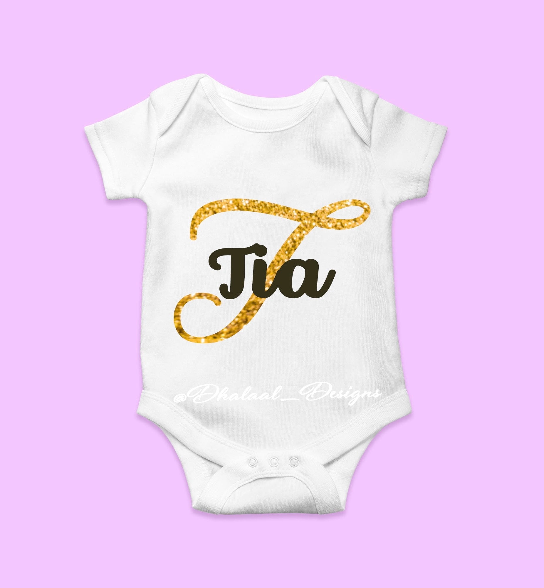 Custom Sparkly Gold Name Onesie/ Bodysuit - Dhalaal Designs