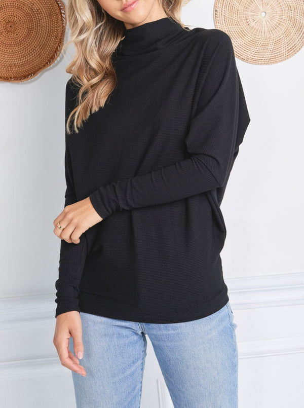 Mock Neck Dolman Ribbed Top