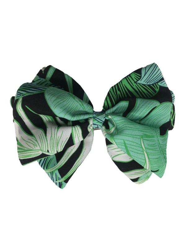Large Leaf Print Bow Barette