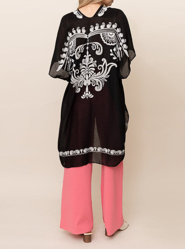Embroidered Paisley Ruana Cover-Up