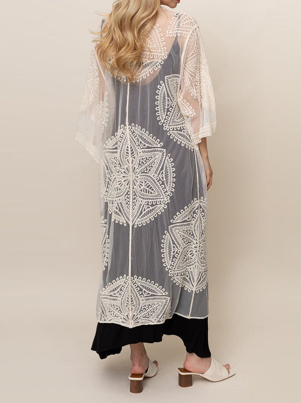 Embroidered Mandala Lace Duster