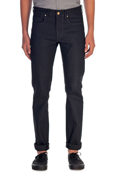 SLIM TAPER Stretch Selvedge Denim Jet Black