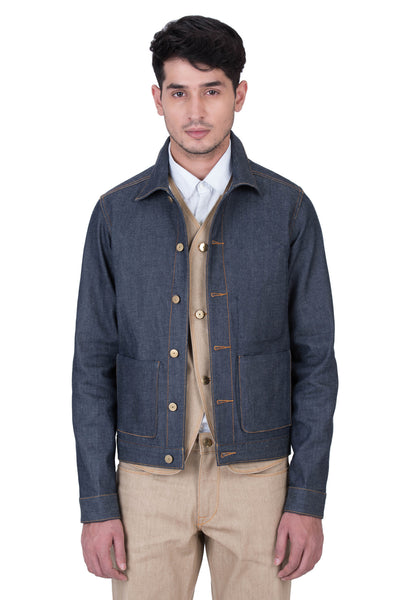 COAT Italian Super Stretch Selvedge Denim Ever Blue
