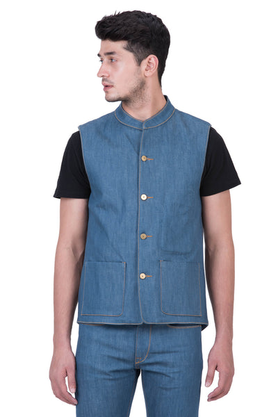 GILET Stretch Selvedge Denim Aqua Indigo