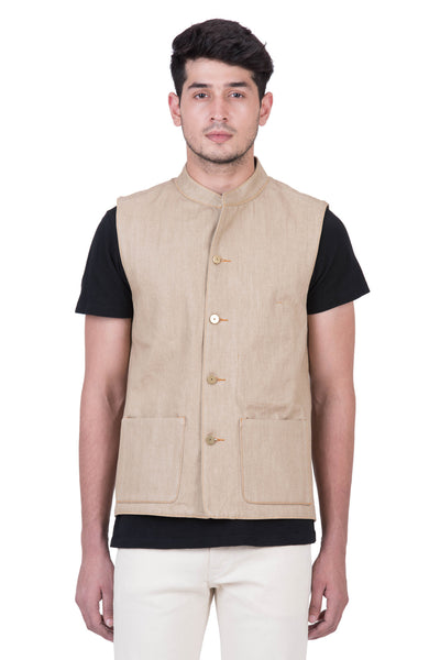GILET Selvedge Denim Khaki