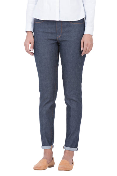 HI RISE SLIM Italian Super Stretch Selvedge Denim Ever Blue