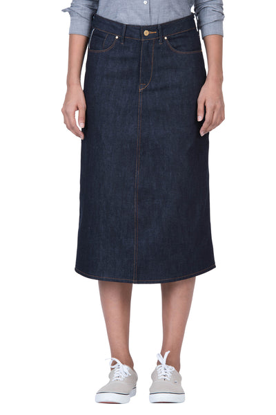 LONG SKIRT Organic Selvedge Denim Brilliant Indigo