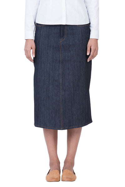 LONG SKIRT Organic Stretch Selvedge Denim Deep Indigo