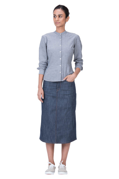 LONG SKIRT Italian Stretch Selvedge Denim True Indigo