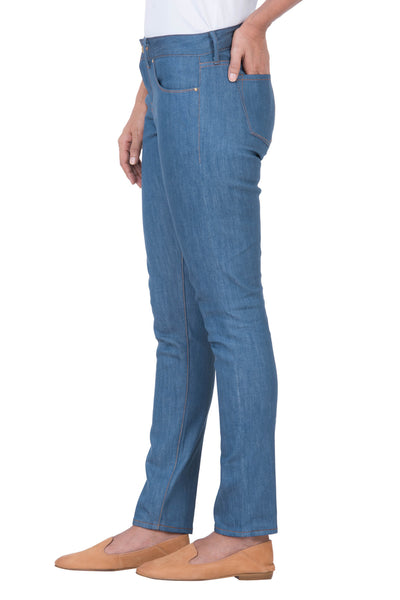 MID RISE SKINNY Stretch Selvedge Denim Aqua Indigo