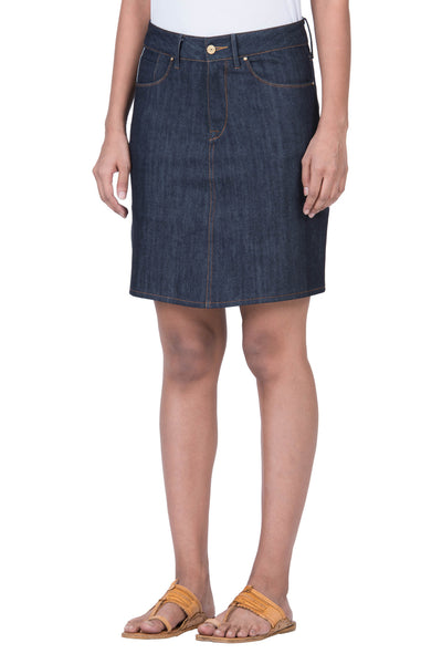 MIDI SKIRT Organic Stretch Selvedge Denim Deep Indigo