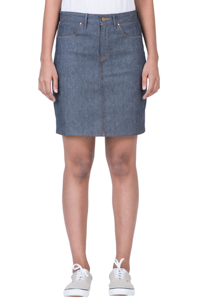 MIDI SKIRT Italian Stretch Selvedge Denim Grey Cast Indigo