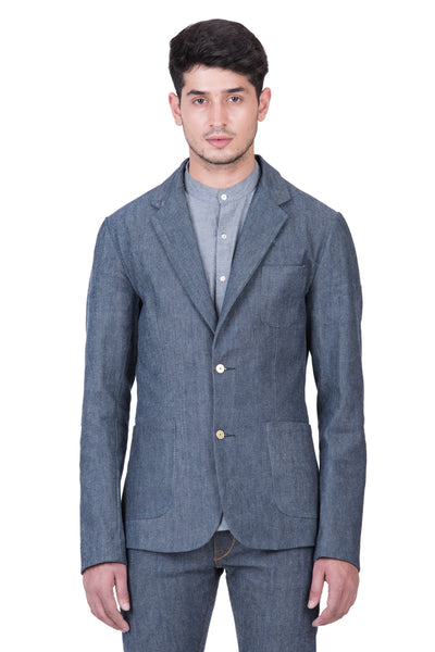 BLAZER Italian Stretch Selvedge Denim Grey Cast Indigo