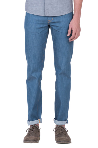 SLIM STRAIGHT Stretch Selvedge Denim Aqua Indigo