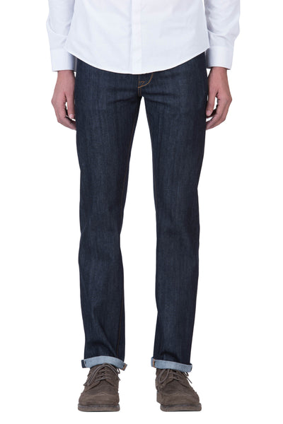 SLIM STRAIGHT Organic Stretch Selvedge Denim Deep Indigo
