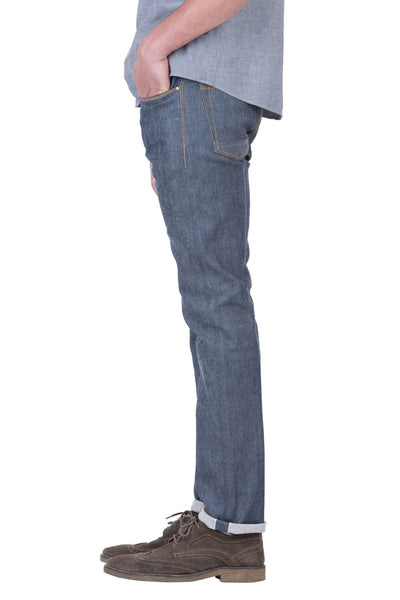 SLIM TAPER Italian Stretch Selvedge Denim Grey Cast Indigo