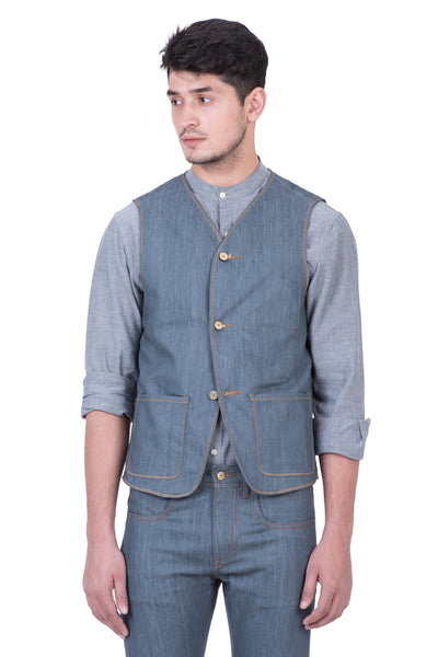 VEST Organic Flex Denim Stone Grey