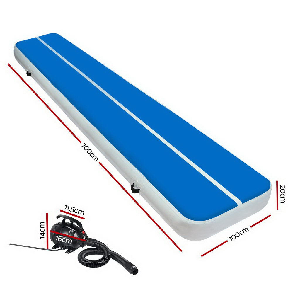 Everfit 7X1M Inflatable Air Track Mat 20CM Thick with Pump Tumbling Gymnastics Blue