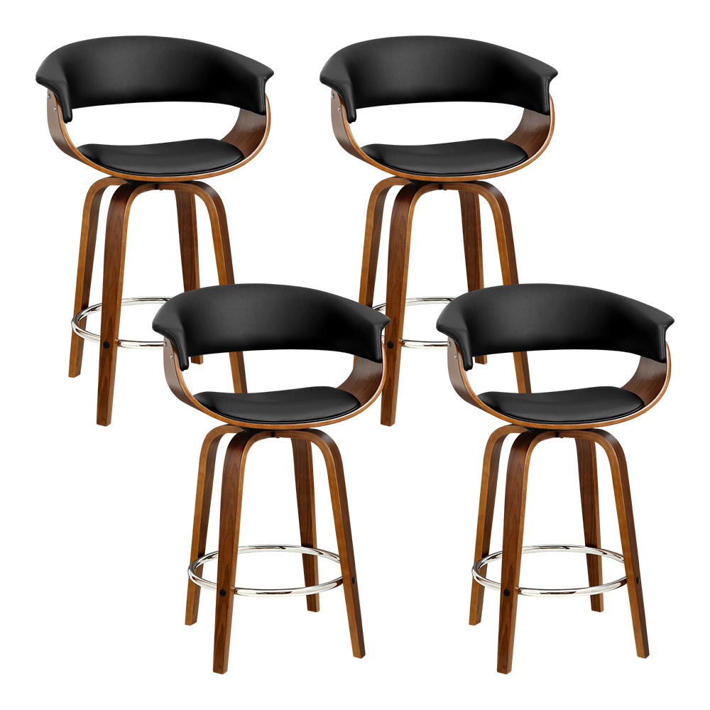 Artiss set of 4 Bar Stools Wooden Bar Stool Swivel Kitchen Dining Chairs Leather Black
