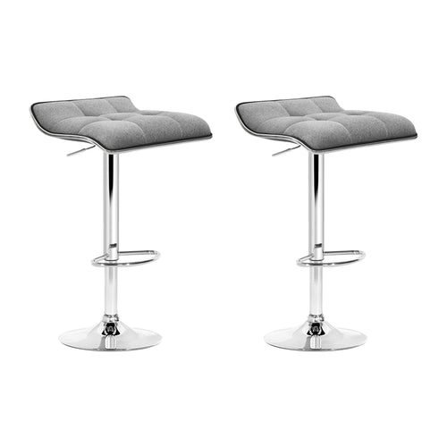 Artiss 2x Fabric Bar Stools Swivel Bar Stool Dining Chairs Gas Lift Kitchen Grey