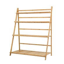 Load image into Gallery viewer, Artiss Bamboo Wooden Ladder Shelf Plant Stand Foldable