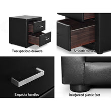 Load image into Gallery viewer, Artiss PVC Leather Bedside Table - Black